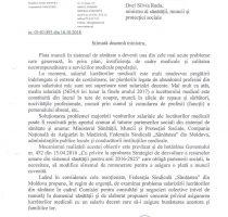 """Federația Sindicală """"Sănătatea"""" din Moldova vine cu o adresare către dna Silvia Radu, ministru al sănătății, muncii și protecției sociale"""