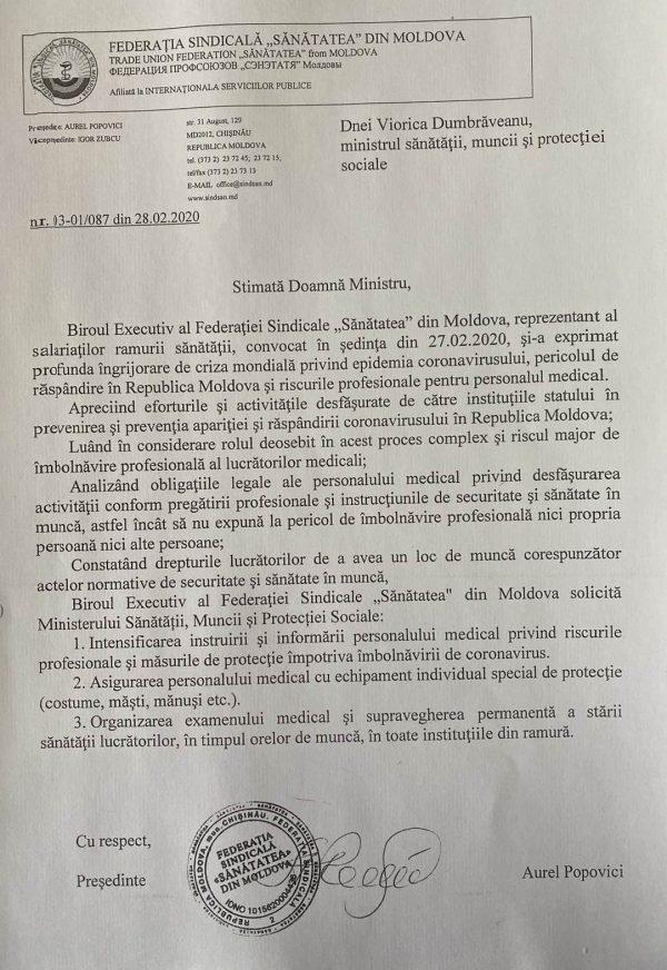 Apel către Ministerul Sănătății, Muncii și Protecției Sociale