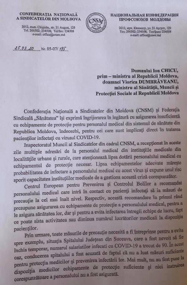 APELUL sindicatelor către prim-ministrul RM și ministrul MSMPS