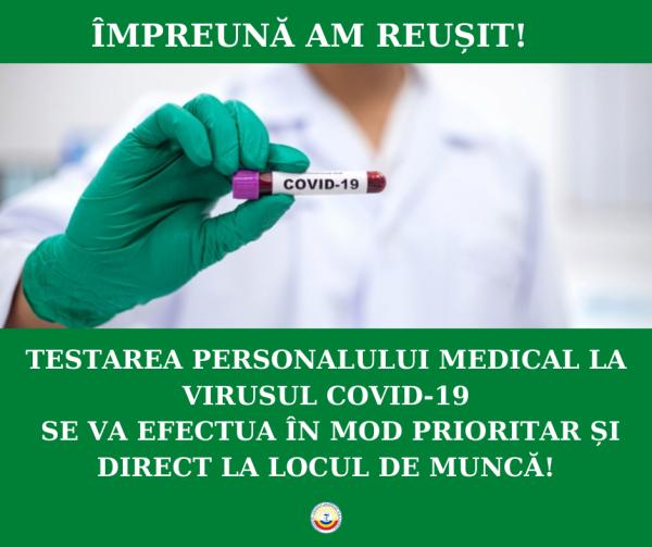 Ministerul Sănătății, Muncii și Protecției Sociale aprobă testarea lucrătorilor medicali la locul de muncă